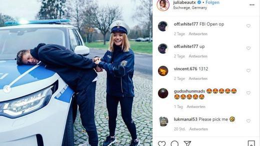 Der Werbepost von Julia Beautx für die Bundespolizei kam bei den Fans gut an