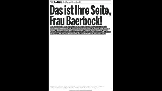 Bild am Sonntag leere Seite 5.9.2021 Baerbock