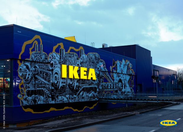 street art wie razorfish eine berliner ikea filiale in. Black Bedroom Furniture Sets. Home Design Ideas