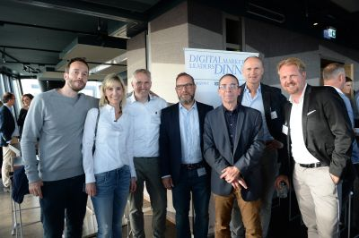 Philipp Westermeyer, OMR; Yvonne Richter, Deutsche Post; Daniel Grözinger, Parklane Capital; Thomas Müller, Audi; Volker Schütz; HORIZONT; Frank Bachér, RMS Radio Marketing Service; Mike Bödger, Wall (v. l.)
