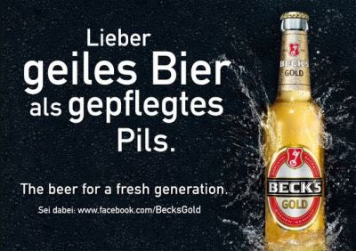 "Beck's Gold-Plakate ""The beer for a fresh generation"""