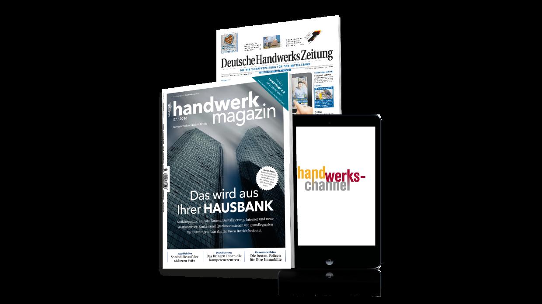"""Ankommen im Handwerk: mit den branchenübergreifenden Wirtschaftstiteln und dem """"handwerks-channel"""", dem digitalen Netzwerk von Holzmann Medien."""
