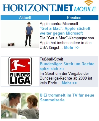 Aktuelle Top-Stories auf HORIZONT MOBILE