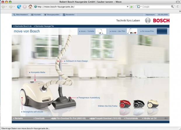 Screenshot der Bosch-Site