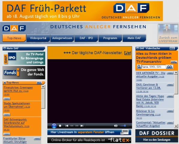 Screenshot der DAF-Homepage