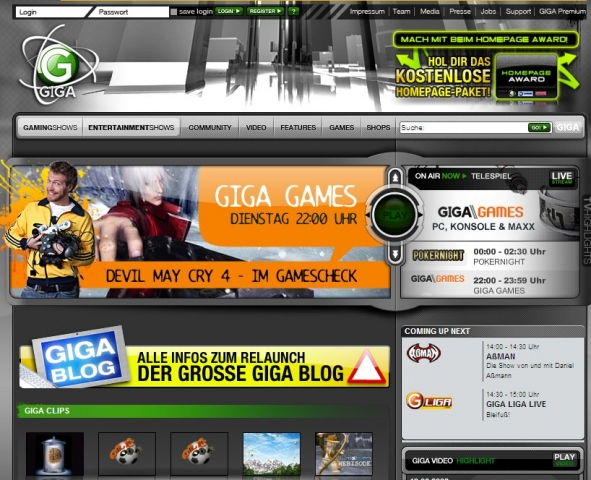 Screenshot der Giga-Community