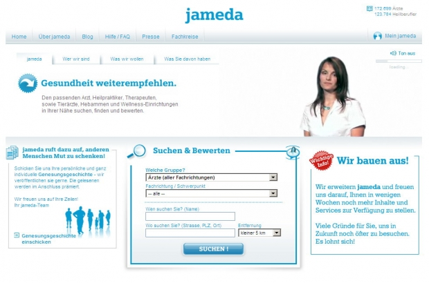 Screenshot der Jameda-Homepage