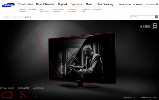 Screenshot der Samsung-Website
