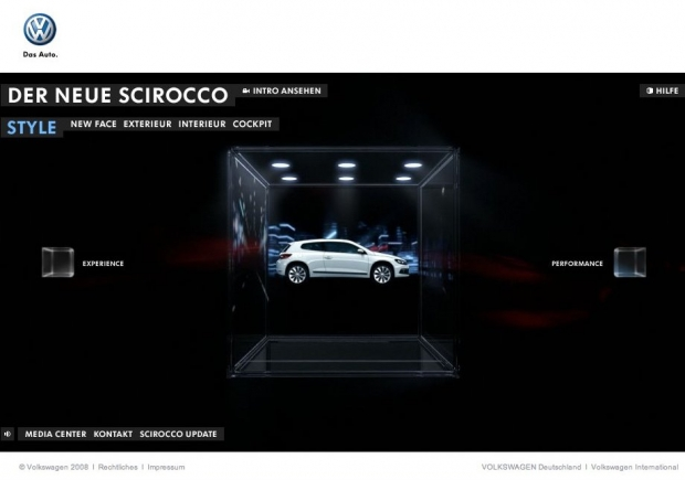 Screenshot der Scirocco-Homepage
