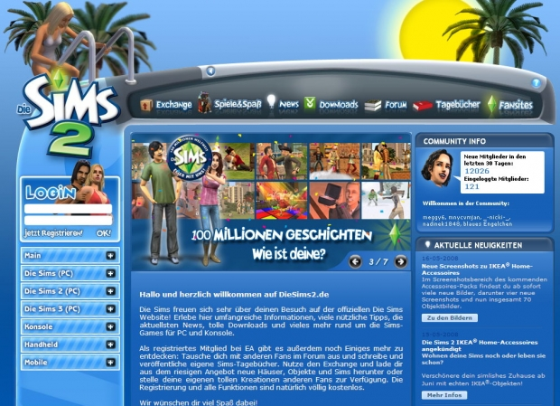 Screenshot der Sims2-Page