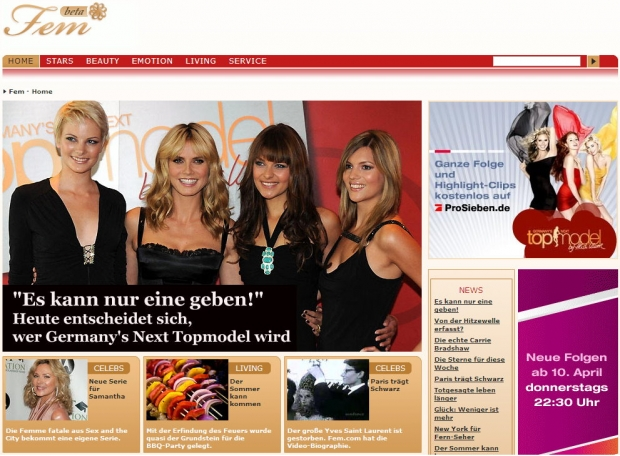 Screenshot vom Fem.com