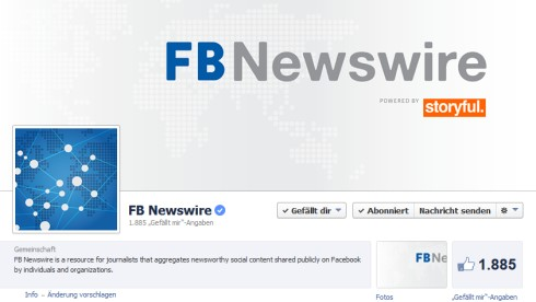 Das Facebook-Profil des FB Newswire (Bild: Screenshot)