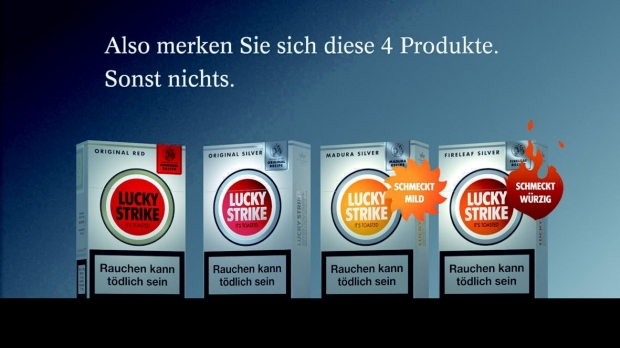 lucky strike nach dem logo kommt nun die kampagne. Black Bedroom Furniture Sets. Home Design Ideas