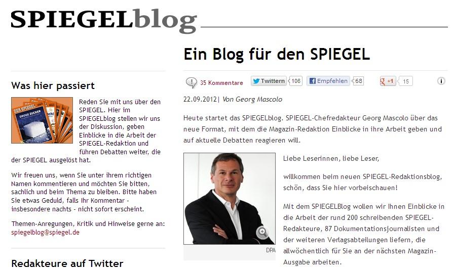 Der spiegel startet redaktionsblog for Zeitung spiegel
