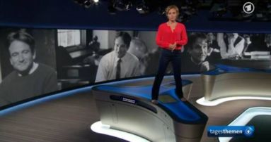 """Oh Captain, my Captain"": Caren Miosga gestern in den ""Tagesthemen"""
