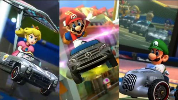 Super Mario und Konsorten sind in Japan mit Mercedes unterwegs (Screenshot: Youtube)
