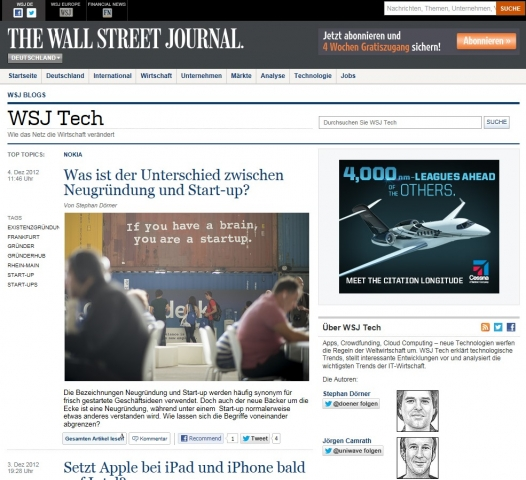 WSJ.Tech widmet sich Technologiethemen mit internationaler Perspektive