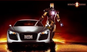 Comic-Held Iron Man gibt im Audi R8 Gas
