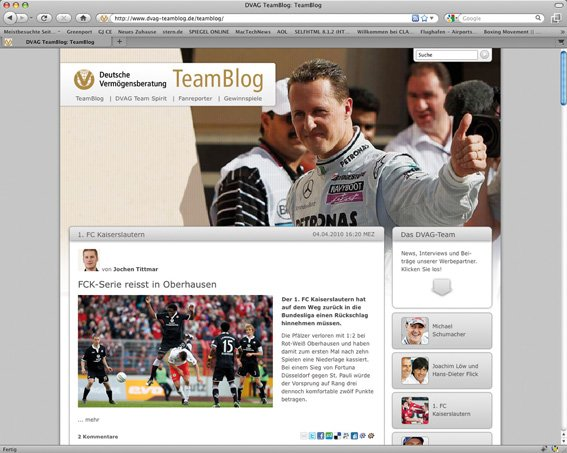 "Screenshot des ""DVAG-Team Blogs"""