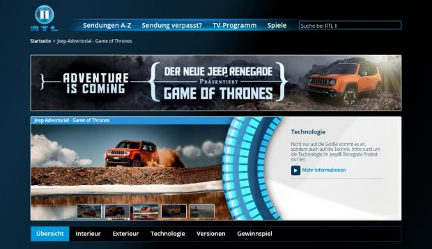 "Jeep präsentiert ""Game of Thrones"" bei rtl2.de"