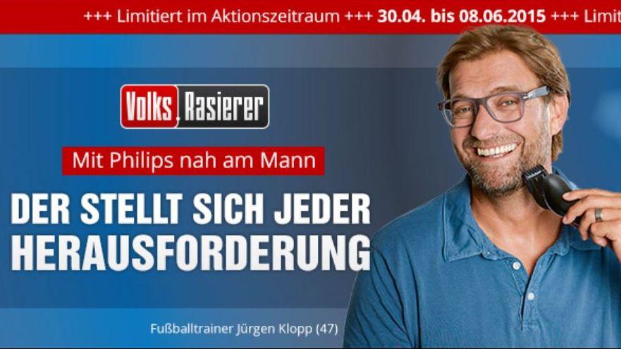 Philips Jurgen Klopp Und Bild Trommeln Fur Den Volks Rasierer