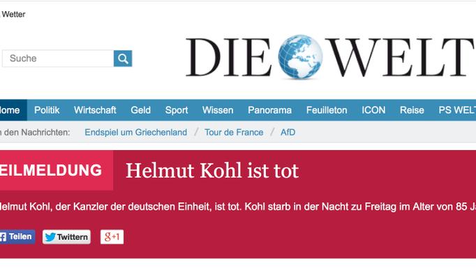 Helmut Kohl tot?: So spottet das Netz über die Panne von
