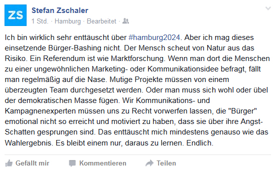 Stefan Zschaler Facebook-Post