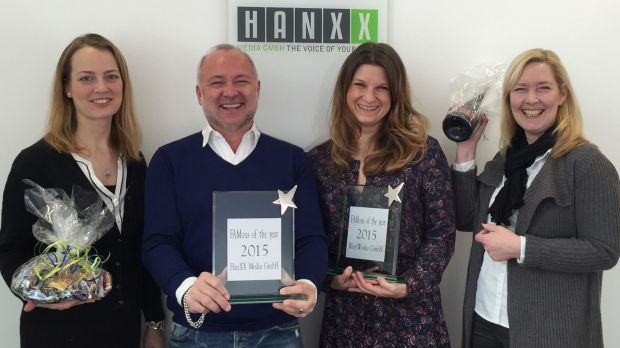 "Bei der Verleihung des ""FAMous of the year"", von links: Sibylle Lucke (FAM, It Works), Oliver Welter (Hanxx Media), Savela Sakari (Westworks) und Susanne Miller (Hanxx Media)"