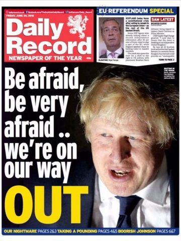 """Daily Record"" zeigt den prominenten EU-Gegner Boris Johnson"
