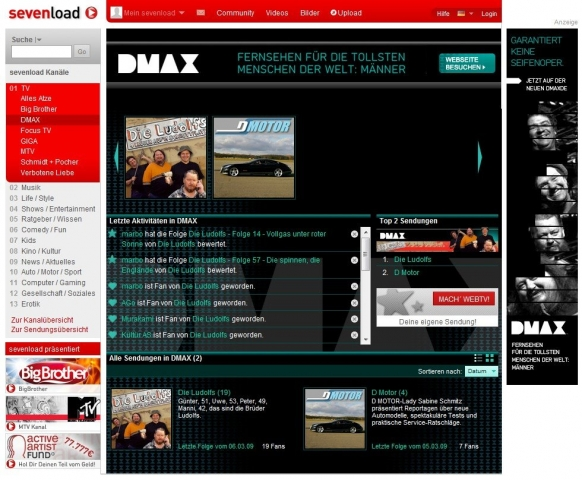 Der DMAX-Channel bei Sevenload