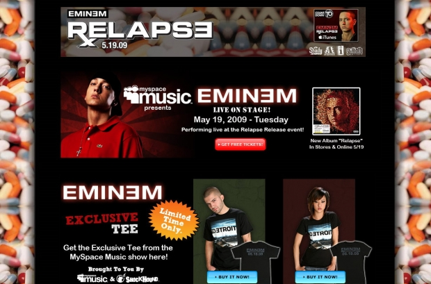 Onlinescreenshot: Myspace Music vermarktet Eminem