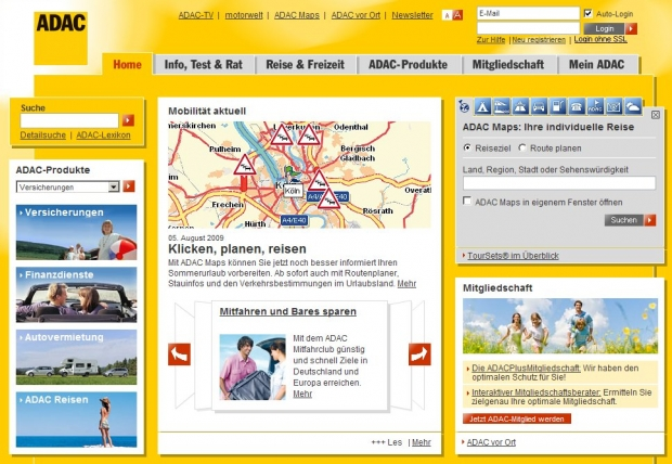 Screenshot der ADAC-Website