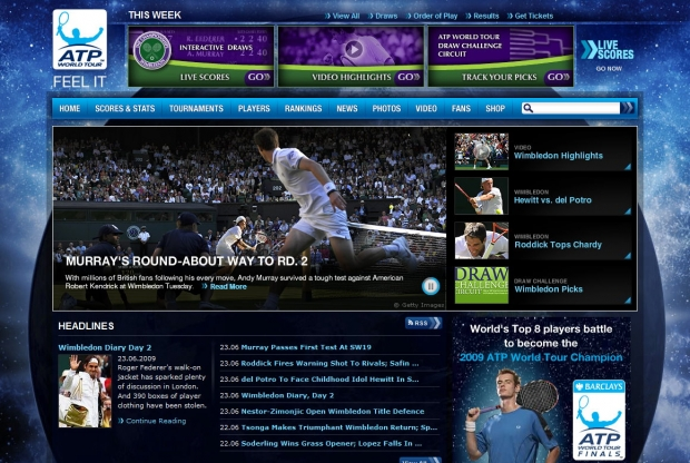 Screenshot der ATP-Homepage