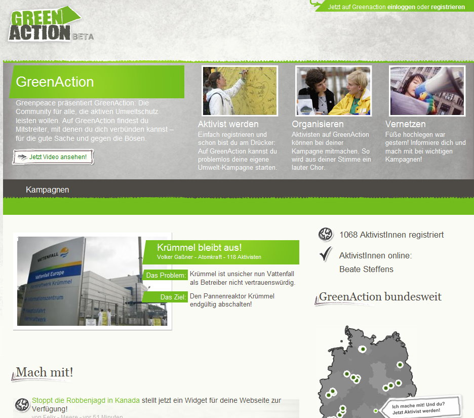 Screenshot von Greenaction.de