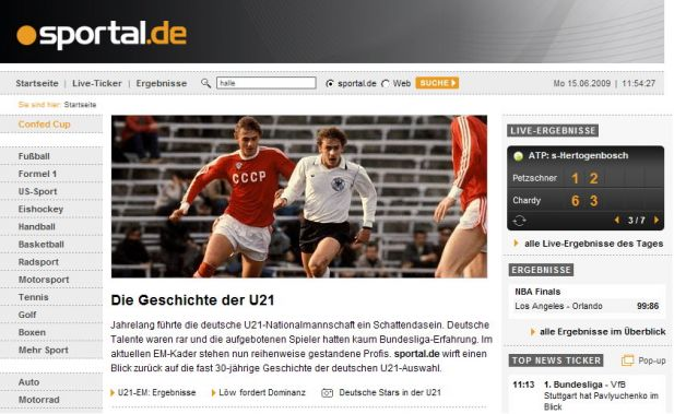Screenshot von Sportal.de