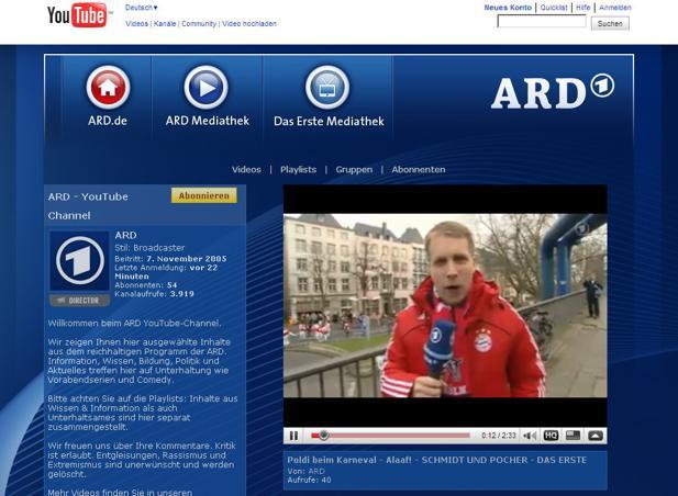 Ard Geht Bei Youtube Auf Sendung