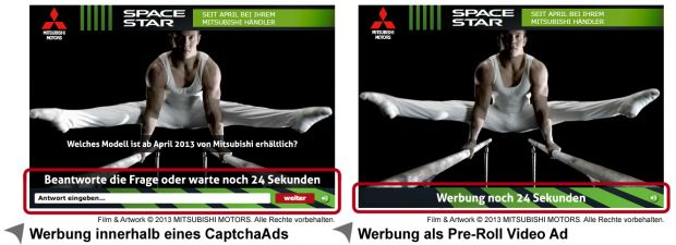 Videospot Mitsubushi Motors im Werbemittelvergleich CaptchaAd mit Interaktionsnotwendigkeit durch den User vs. Pre-Roll Video Ad ohne aktive Einbindung des Users (Quelle: CaptchaAd)