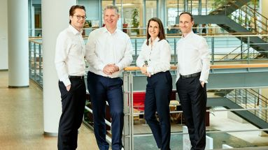 Henkel Ventures' Kernteam (v.l.): Dr. Robert Günther (Corporate Development), Dr. Paolo Bavaj (Adhesive Technologies), Esther Kumpan-Bahrami (Beauty Care) und Thomas Schuffenhauer (Laundry & Home Care).