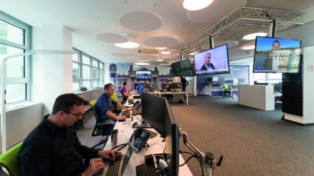Blick in den Newsroom von T-Online.de in Berlin