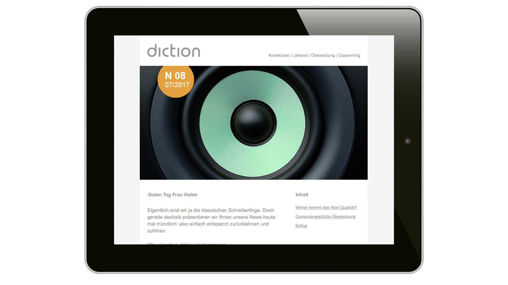 Agentur am Flughafen : Newsletter für Sprachdienstleister Diction AG entwickelt – zum Zuhören