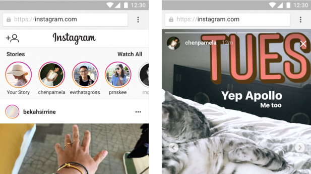 Instagram packt die Story-Funktion nun auch ins mobile Web.