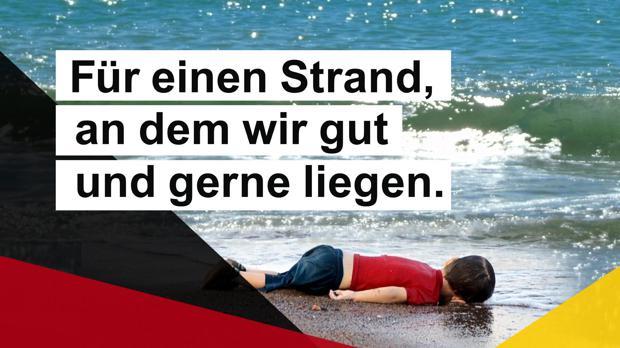 CDU-Zentrale zum Partei-Plakat mit totem Flüchtlingsjungen: