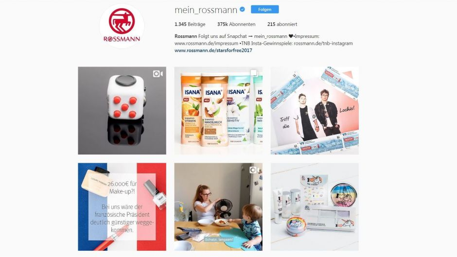 Rossmann hat bei Instagram 375.000 Follower