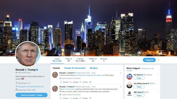 Der Twitter-Account von Donald Trump