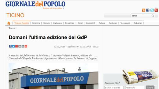 Die Giornale del Popolo gibt auf