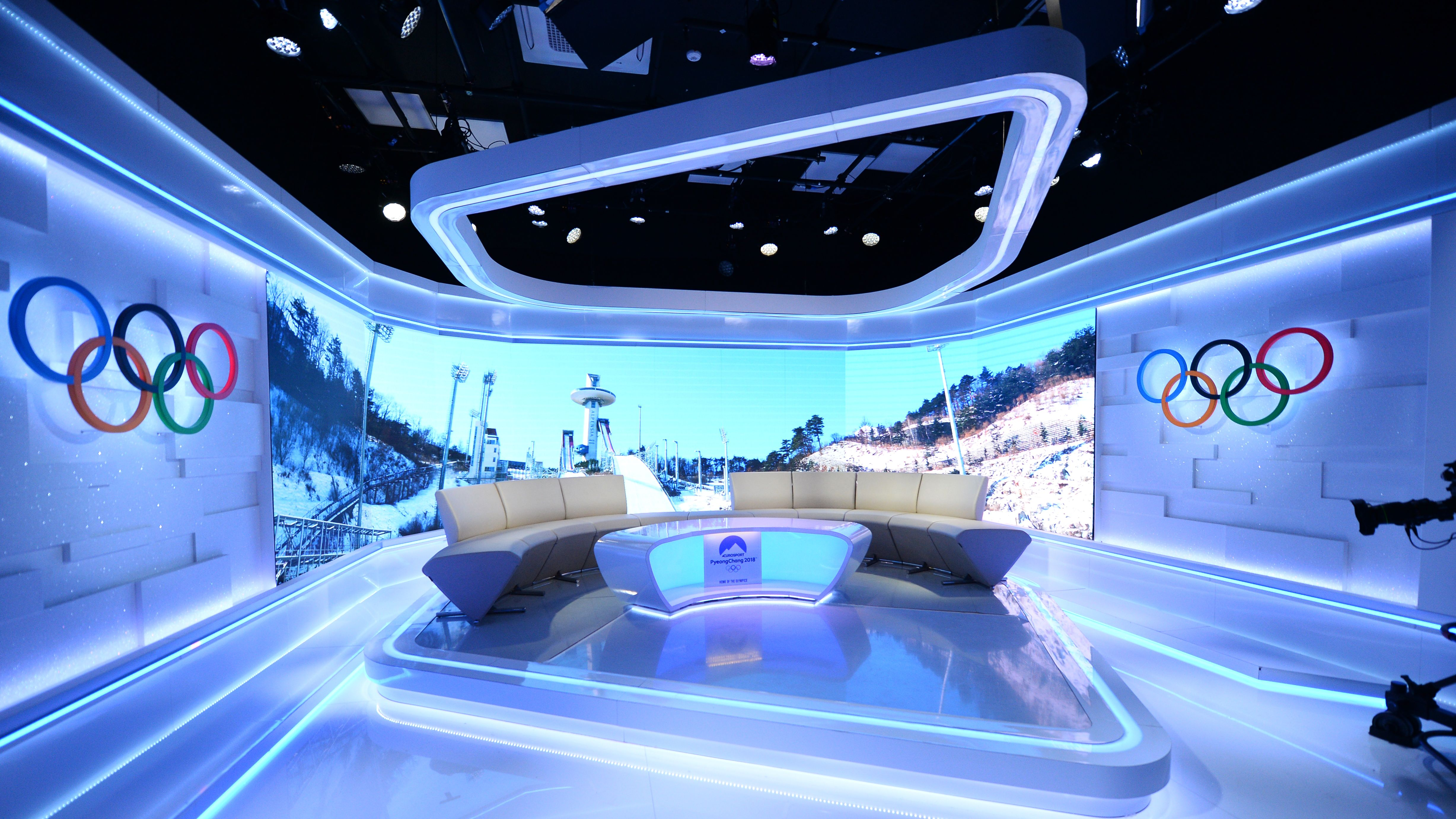 Das Eurosport Studio im International Broadcasting Center in Pyeongchang