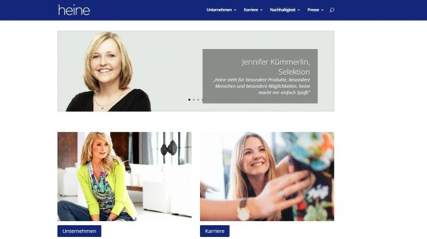 Screenshot der Heine-Homepage