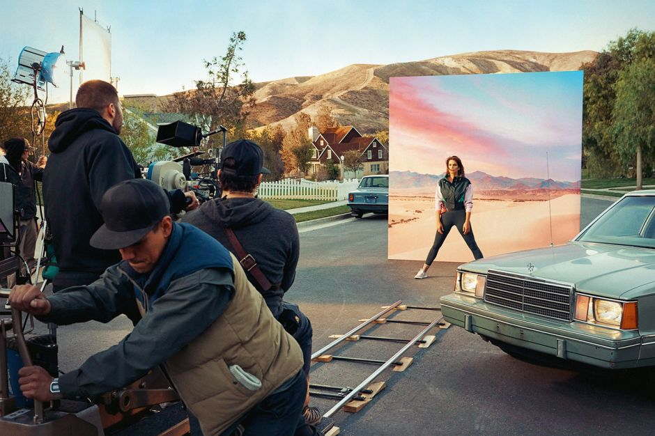 Cindy Crawford am Set des Spot-Drehs