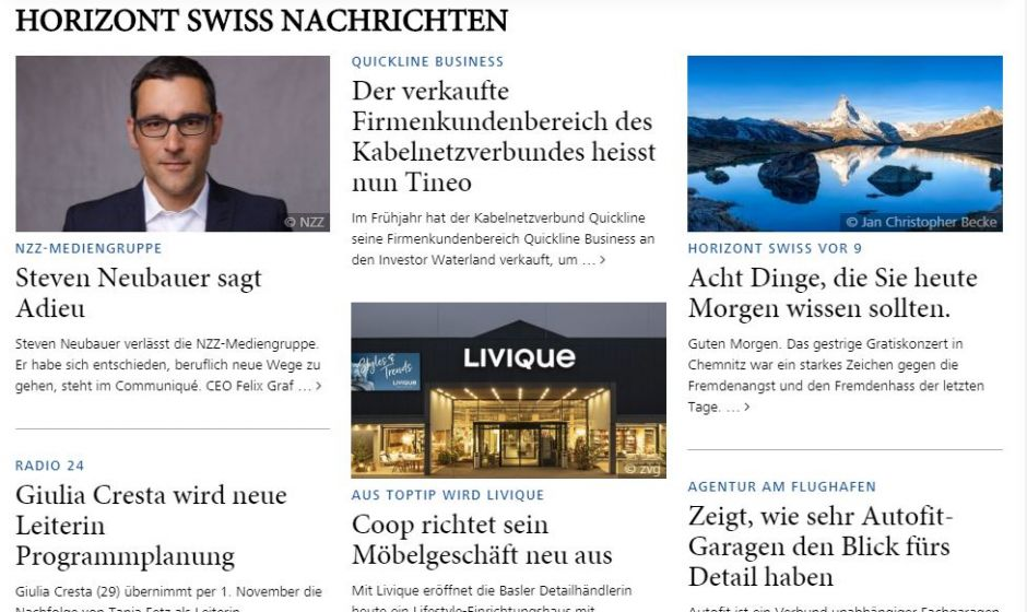 Screenshot Horizont Swiss