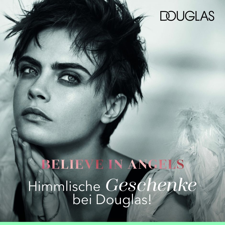 believe in angels cara delevingne wird f r douglas zum weihnachts engel. Black Bedroom Furniture Sets. Home Design Ideas